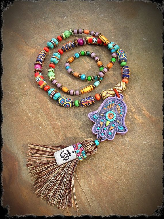 Boho HAMSA NECKLACE Fatima Hand Long chunky necklace by GPyoga, $159.00