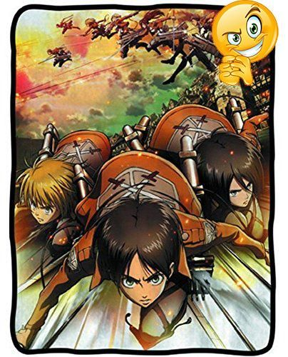 #pillowcases Exaggerated, child-like images from the scary #Attack on Titan anime and manga series' give this Attack on Titan blanket a frightening but fun look!...