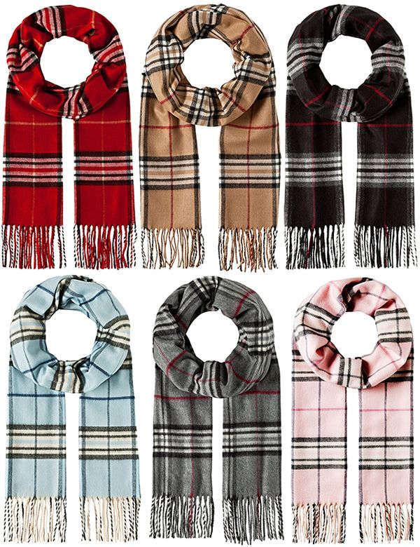 Vincenzo Boretti 1123 Classic Fringed Check Scarf: http://amzn.to/2AJA1EH | in red, camel, black, blue, grey and pink (Burberry dupes)