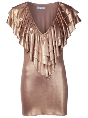 Metallic bronze blush knit 'Victory' dress from Julia Clancey featuring a v-neck, three layers of ruffles at collar, and a short hem. Has a fitted silhouette and a darted bust. £202.88 by hanan.crystal