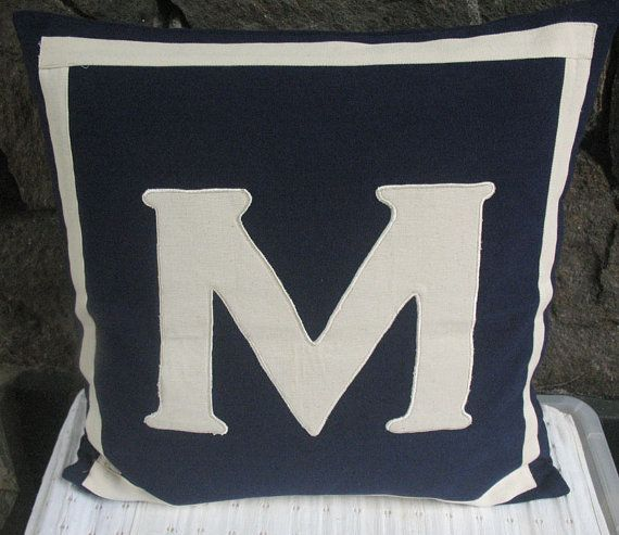 navy monogram pillow personalized letter initial pillow cover  custom made monogrammed pillow
