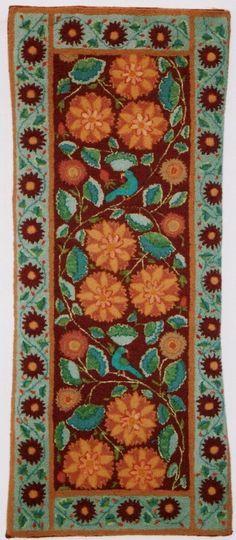 ~ Margaret Arraj - Petals and Plumage, hand hooked rug