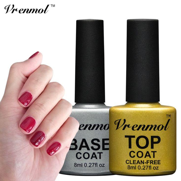 Vrenmol 8ml Top Coat + Base Gel Lacquer UV Lamp or LED lamp Nail Gel Polish Soak Off Long-lasting Non-Cleasing Finish Gel