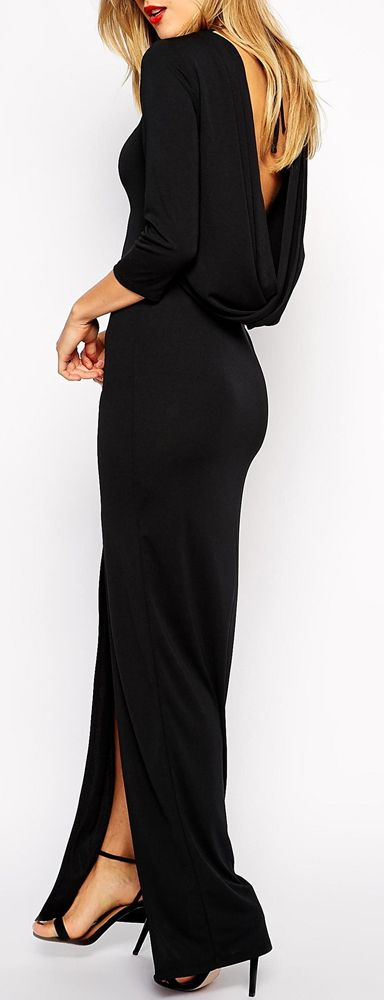 Black, Cowl Maxi Dress.