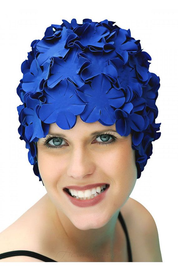 Vintage Style Flower Swim Cap - Indigo