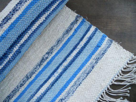 Swedish Vintage Rag rug Woven rag rug Striped blue white rag rug Woven Scandinavian handmade rug