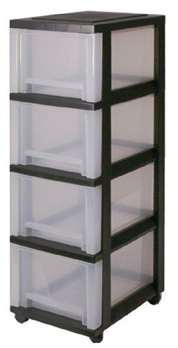 Drawers, Storage drawers with 4 drawers, Plastic drawers Black, Drawers on wheels, Drawer tower unit four drawers, Drawer organiser, Plastic office drawers - SDC-304