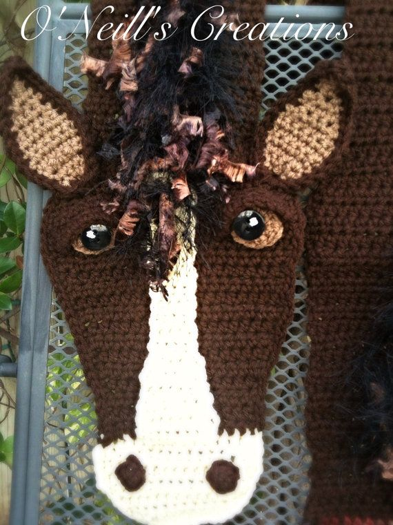 One Of Kind Whimsical Crocheted Horse Scarf Very Detailed
