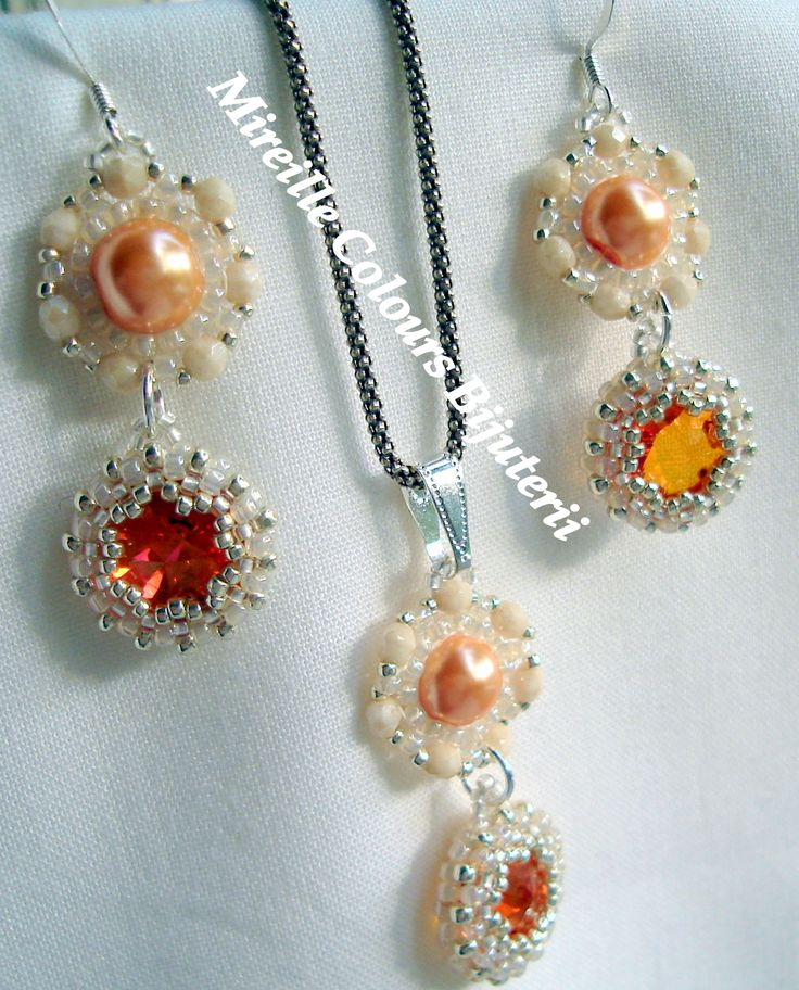 Earrings and Pendant with Swarovski crystal in the center, Toho Beads, Glass Fire Polish and Pearls. Technique used: Peyote.