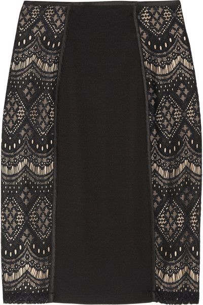 ALice by Temperley London! Dita Lace Paneled Jersey Skirt