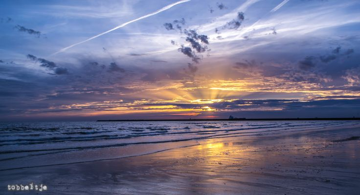 Sunset at IJmuiden beach (Netherlands) on July 7th 2016