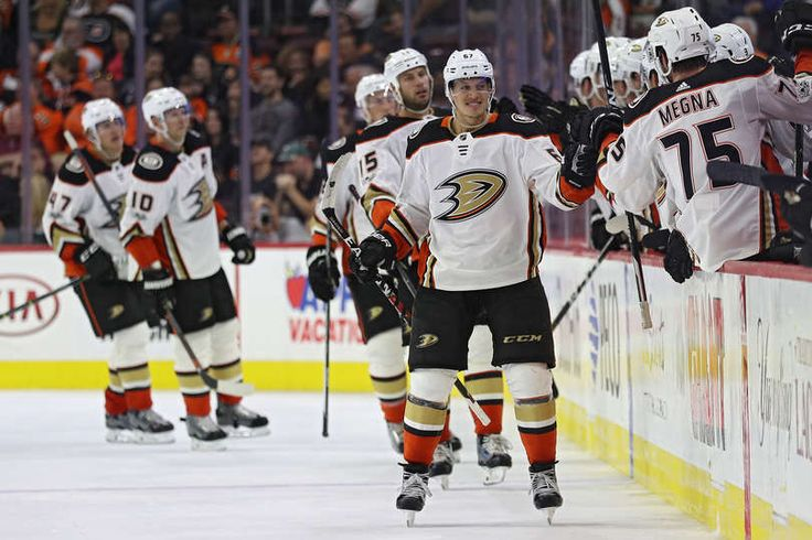 Rickard Rakell #67 of the Anaheim Ducks celebrates his goal against the Philadelphia Flyers during the second period at Wells Fargo Center on October 24, 2017
