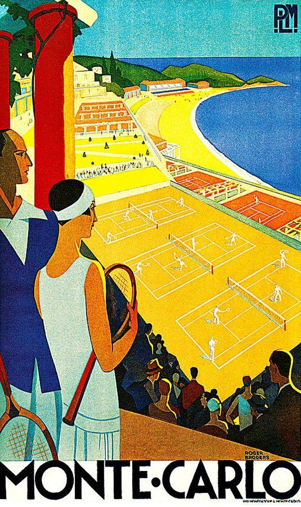 Monte Carlo (1920-1930) Roger Broders for Paris Lyon Mediteranee rail #riviera #essenzadiriviera.com