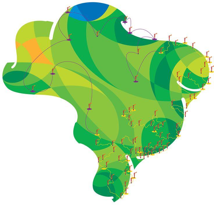 Mapa cidades do revezamento da tocha Rio 2016.