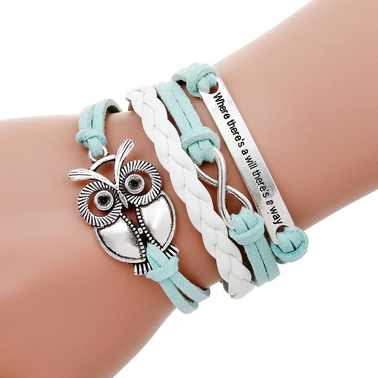 Where there is a will there is a way Leather bracelet owl charm bracelet homme pulseira couro silver bracelets for women jewelry