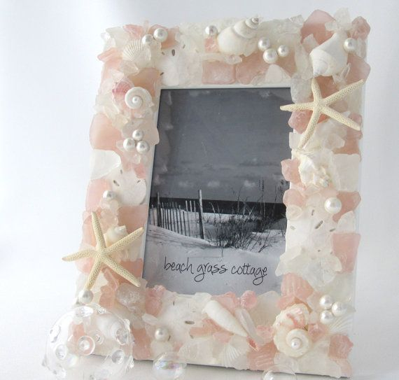 Beach Glass Frame Beach Decor Seashell Frame by beachgrasscottage