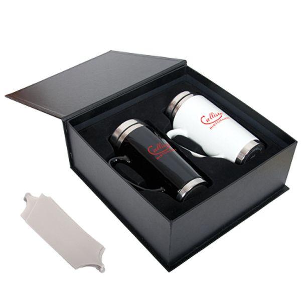 Black Label Travel Mug Gift Set. This Gift Set Includes