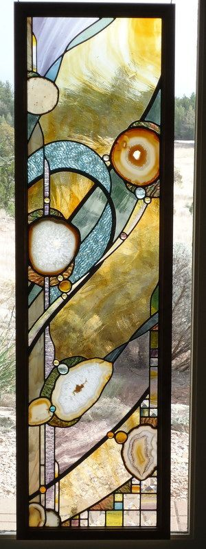 "stained glass window panel "" DEVINE "" Exquisite European hand blown glasses, Brazilian agates, hand poured glass, lead accents, alder framed"