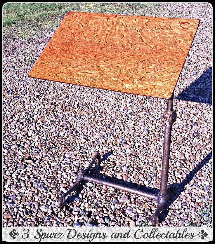 3 Spurz D&C Repurposed /Refurbished Creations!!: Victorian Drafting table with tiger oak top and cast iron base. Follow us for more wonderful pins at http://pinterest.com/3spurzdandc/... http://facebook.com/... http://www.3spurzdesignsandcollectables.com/about-us