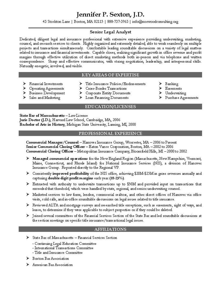 sample resume for key assignments