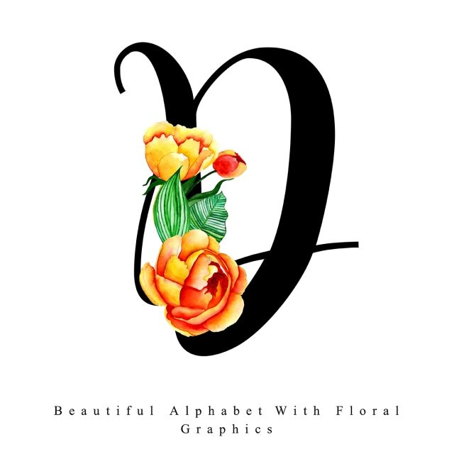 Alphabet Letter D Watercolor Floral Background Watercolor Color Colorful Png And Vector With Transparent Background For Free Download Floral Watercolor Lettering Alphabet Floral Background