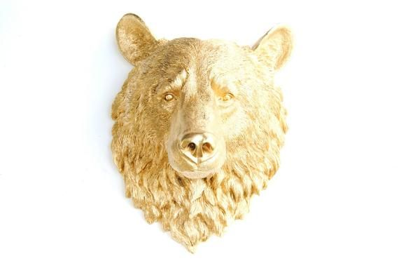 Bear Head Wall Mount Faux Taxidermy Large Metallic Gold Bear