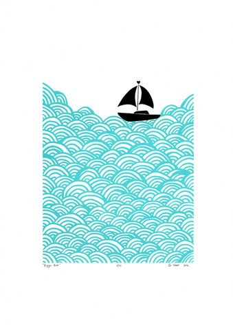 """Bigger Boat"" print in Aqua - Framing Available"