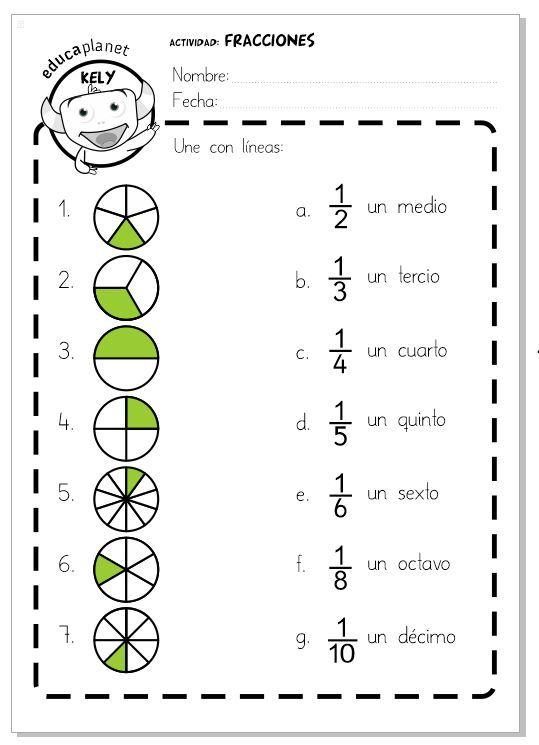 Fracciones Ficha Fácil Escuela Fracciones Ejercicios