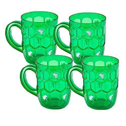 St Patricks Day Beer Mugs Set of 4 Cups St Patrick Celebration Green Shamrock #GiftBoutique