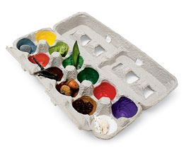 You paint an egg carton then on your walk, your child finds something that color to put in the slot.