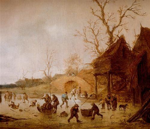 Isaac van Ostade - Winterlandschap met schaatsers en kolfers op het ijs