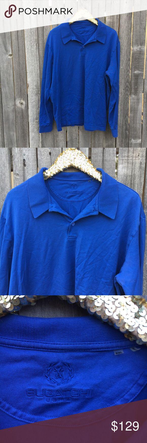 Bugatchi Blue Long Sleeve Polo Shirt XXL EUC! Barely worn! Royal Blue long Sleeve Polo or Rugby Style Shirt. Classic American style. Measurements coming ASAP! Bugatchi Shirts Polos