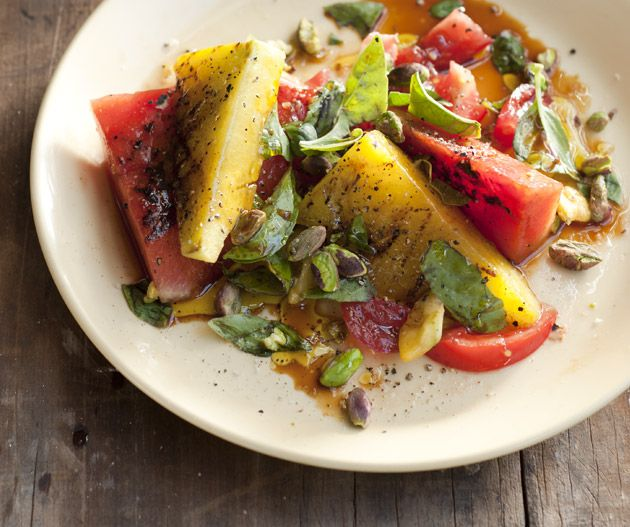 Watermelon salad with pistachios, basil and vincotto | Lantern