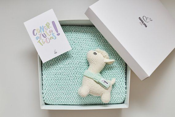 f76a8254e7d76 Pregnancy gift for mom to be with cute plush baptism baby blanket set and  crochet stuffed