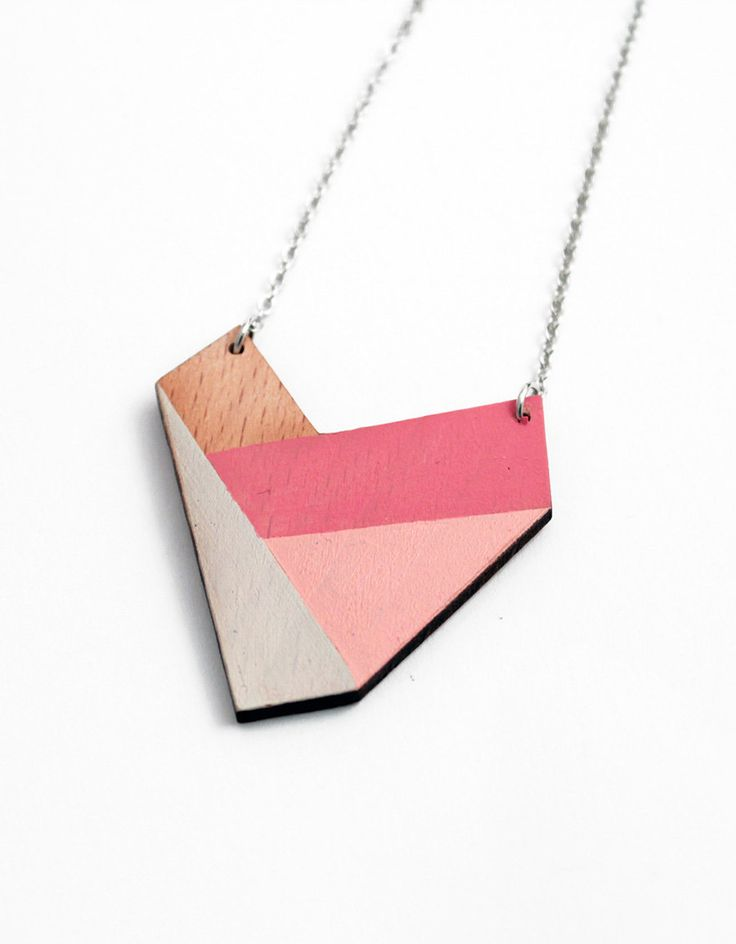 Geometric necklace, wooden pendant - nude, pale rose, pink, natural wood - minimalist, modern jewelry - color blocking. $24.00, via Etsy.