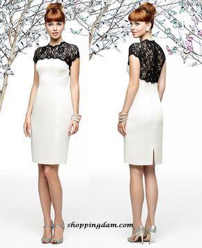 Vestido branco com recorte renda preta - Lace dentelle.