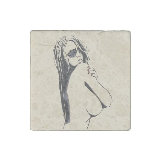 #erotic #nude #Pure #sexiness, #curvy #shapes #blonde in #sunglasses #stone #magnet #hot #naked #girl @zazzle