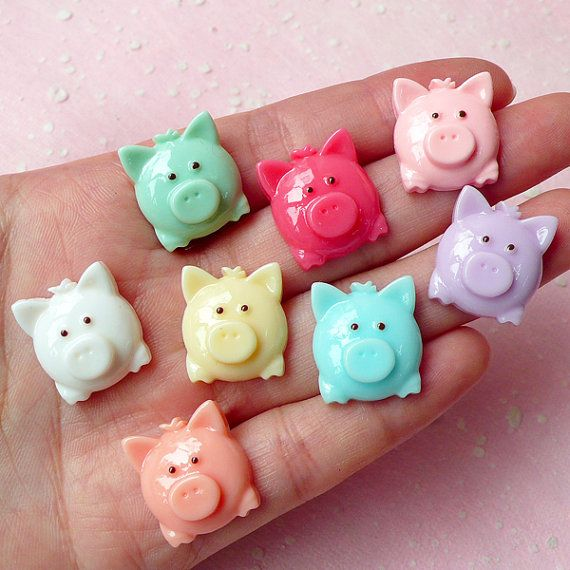 Hey, I found this really awesome Etsy listing at https://www.etsy.com/listing/167735082/pig-cabochon-mix-8pcs-16mm-x-18mm-pastel
