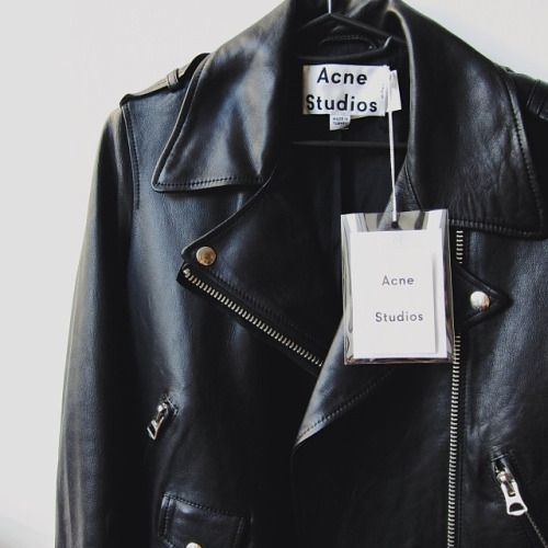 The top item on our wish list... an Acne Studios leather jacket.