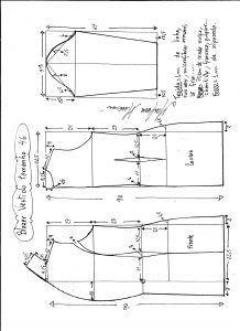 Esquema de modelagem de blazer vestido com manga de renda tamanho 46.