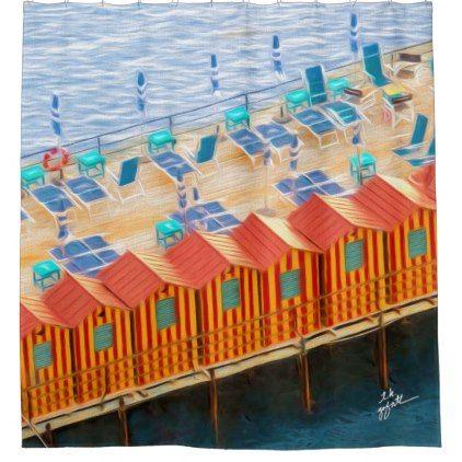Chic Orange and Blue Cabanas Beach Style Shower Curtain - chic design idea diy elegant beautiful stylish modern exclusive trendy