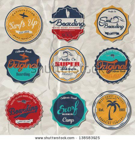 surfer vector set.vintage surf elements.vector retro surf label set. - stock vector