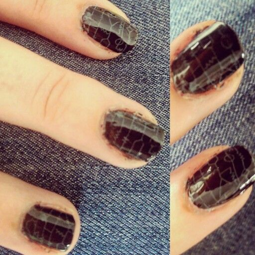 Black and green matrix nails