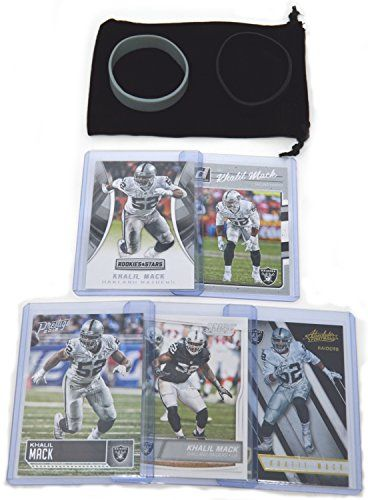 Khalil Mack Football Cards Assorted (5) Bundle - Oakland Raiders Las Vegas Trading Cards  https://allstarsportsfan.com/product/khalil-mack-football-cards-assorted-5-bundle-oakland-raiders-las-vegas-trading-cards/  CONTAINS – an assortment of authentic cards from manufacturers such as Panini, Bowman, and Topps COLLECT – These cards are a great addition to any Khalil Mack or Oakland Raiders collection. Exact cards per lot varies – please see pics for possible