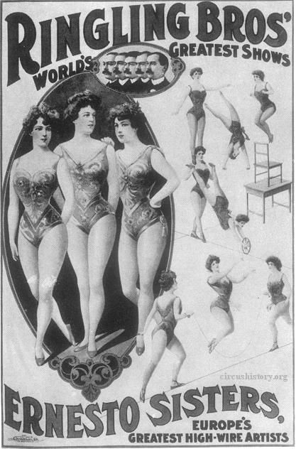 "Ernesto Sisters, high-wire artists. ""Lithographs of the 1890s,"" Bandwagon, Vol. 7, No. 4 (Jul-Aug), 1963, p. 9.Era Rings, Ernesto Sisters, Ringling Bros, Vintage Circus Rings, Rings Bros, High Wir Artists, Bros Circus Posters, Ringling Brother, Brother Circus"