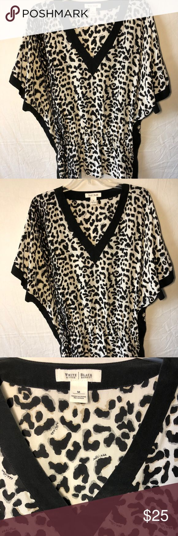 White House Black Market Silk Animal Print Top Gently used, beautiful 100% silk WHBM blouse. This loose fitting top features animal print, batwing sleeves and a cinched waistline.   Measurements may very slightly: 16 inch from shoulder to shoulder 15 inch sleeve 53 inch bust 34 inch waist White House Black Market Tops Blouses