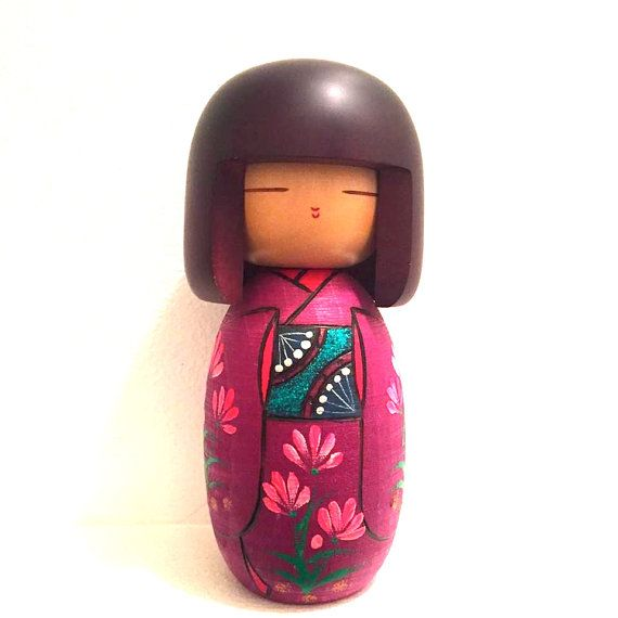 Kokeshi Doll /Japanese Art/ Handmade / Wood by HippyHappyShop