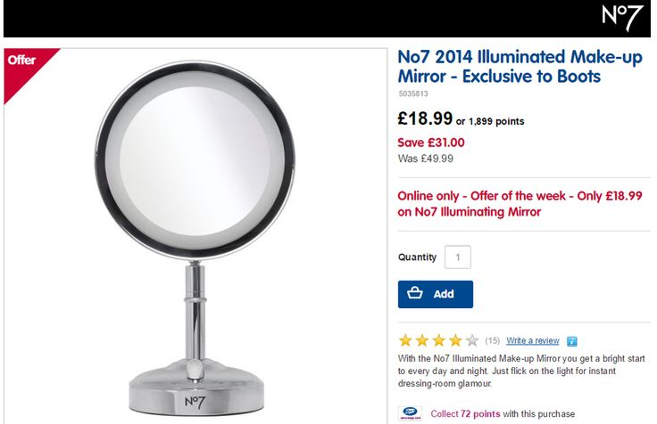 No7 Illuminated Make-up Mirror Exclusive to Boots was £49.99 NOW £18.99 at Boots