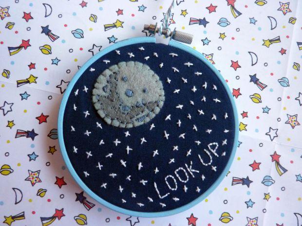 """Handmade """"Look Up"""" Night sky embroidery hoop"""