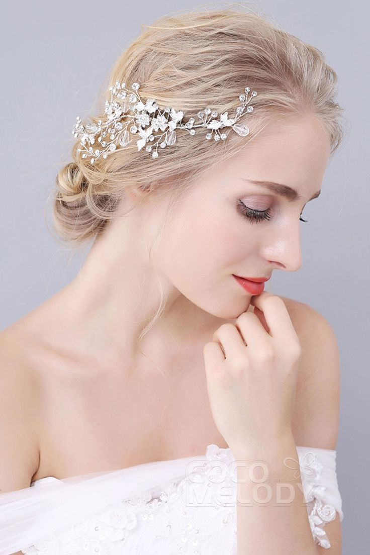Swoon over jannie baltzer s wild nature bridal headpiece collection - Fashion Silver Cloud Alloy Wedding Hair Combs With Rhinestone Sah160027